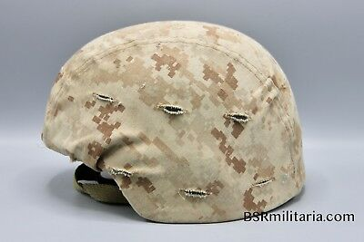 Original US Marine Corp LWH / ACH Helmet with Tan Marpat Cover Iraq Afghanistan