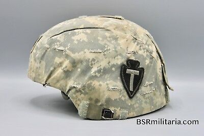 Original US Combat Used 36th Infantry ACH Helmet w ACU Cover Iraq Afghanistan