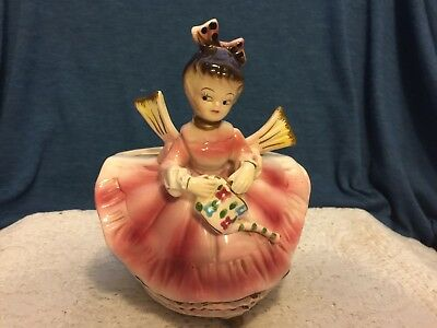 Vintage Chase Japan Girl Planter Vase Woman In Red Dress Watering Can Rare