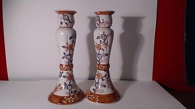 """2  Vintage  Chinese Floral  Porcelain Candle Holders 10 1/2"""" Tall"""
