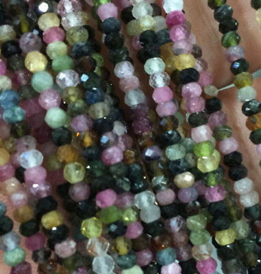 Faceted 2x3mm Multi-color Tourmaline Gemstone Rondelle Loose Beads 15'' AAA