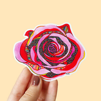 Vinyl Rose Sticker - Waterproof Flower Laptop Planner Decal