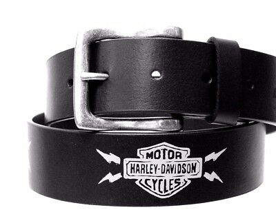 GENUINE Harley-Davidson Mens WILLIE G THUNDER BLACK LEATHER BELT Waist Size- 34