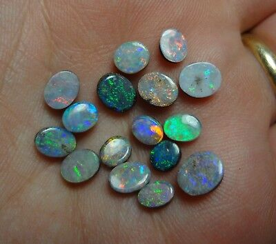 Parcel: 16 Polished Natural Solid Boulder Opals. 7.3 Carats in Total, Lapidary