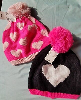 Set of 2 The Children's Place Knit Pom Pom Hats, Hot Pink & Black Hearts 8yrs+