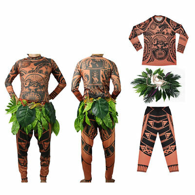 Halloween Moana Maui Tattoo T Shirt + Pants Adult Mens Kids Cosplay Costume AU