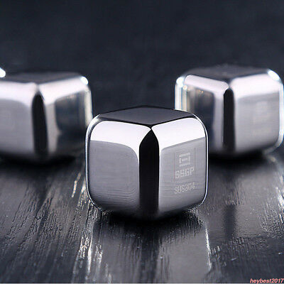 8x Stainless Steel Whiskey Stone Ice Cubes Square Glacier Chiller Drink Reuseble