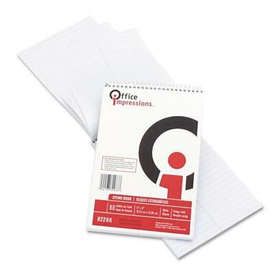 """Pack of 12 Office Impressions 82869 Wirebound Steno Book White 80 Sheets 6"""" x 9"""""""