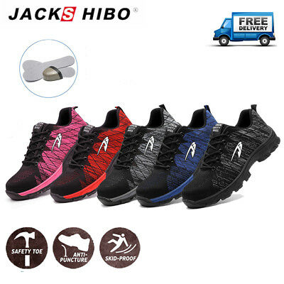 Mens Sneakers Sports Breathable Running Work Safety Outdoor Shoes Steel Toe Cap