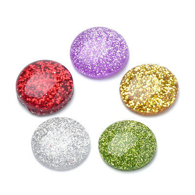 200pcs Colorful Flatback Resin Cabochons Glitter Powder Round Dome Cameo 16x5mm