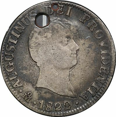 1822 Mexico 2 Reales, Iturbide, KM# 303, VG, 2R Very Good. Holed