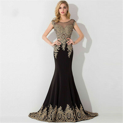 Long Evening Formal Party Dress Prom Ball Gown Bridesmaid Applique New