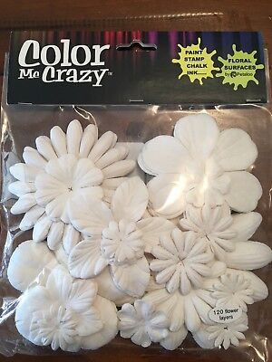 Flower Layers Multiple Shapes Sizes Craft Art Scrapbooking White. Ink/stamp/chal