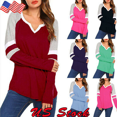 US Women Ladies Long Sleeve V Neck Blouse Casual Shirt Loose Tops Splice T-Shirt