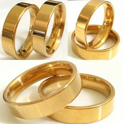 Wholesale lot 50pcs Gold S-Steel Band Rings For Men & Women Great Gift & Resale