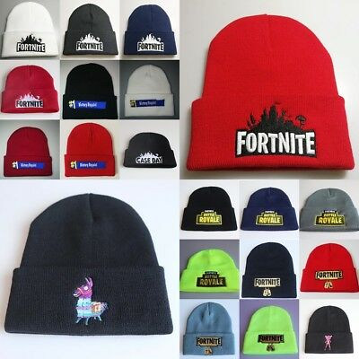 2b91f67ddd3 Kids Fortnite Beanie Hat Boys Knitted Turn Up Embroidered Hat Head Size  55-60 CM