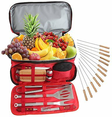BBQ Tools Set 24 Pcs Barbecue Grill Accessories Set Outdoor Picnic Cooler Bag