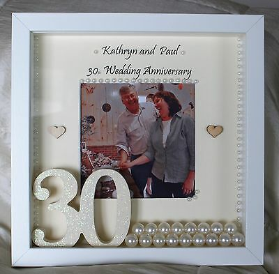 Personalised 30th Pearl Wedding Anniversary Gift Photo Frame Hand