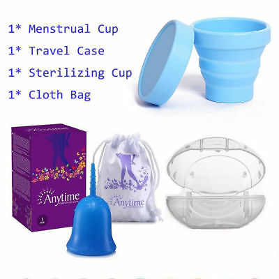 Reusable Menstrual Cup Soft Lady Medical Moon Period Cups+ Case + Sterilizer Cup