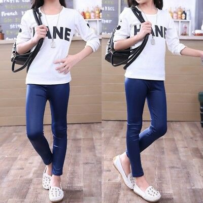 Toddler Girls Faux PU Leather Pants Cotton Leggings High Wrist Skinny Trousers