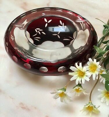 Antique Vintage Bohemian Ruby Red Cut To Clear Glass Bowl Ashtray