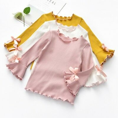 Toddler Girl Solid Color Long-sleeve Shirt Kid Casual Bow Tops Soft Bell Sleeves