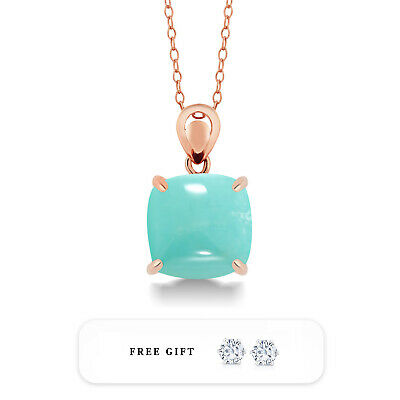 """Cabochon Cut Square Amazonite Rose Gold Plated 925 Silver Pendant On 18"""" Chain"""