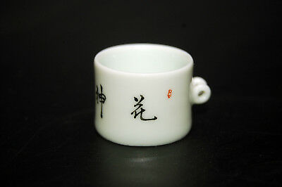 Hand Painted Porcelain Bird Feeder Bowl for Chinese Bamboo Bird Cage Calligraphy