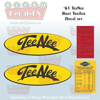 1961 Tee Nee Boat Trailer Reproduction Decal set 4 Piece Marine Vinyl Decal