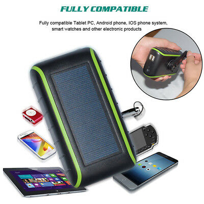 SOLAR CHARGER 10000MAH Hand Crank Double USB Emergency Solar Charger + LED  Light