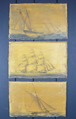 Three Attractive Early Victorian Hand Tinted Print Ship Scenes