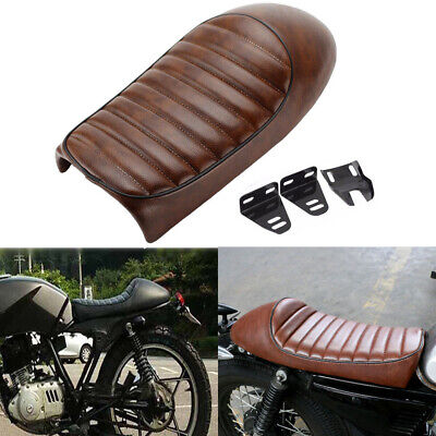 Universal Brown Vintage Hump Saddle Motorcycle Cafe Racer Seat For Honda Yamaha