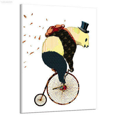 332E Creative Colorful Bike Giant Panda Wall Frameless Oil Paintings 14.8X21CM