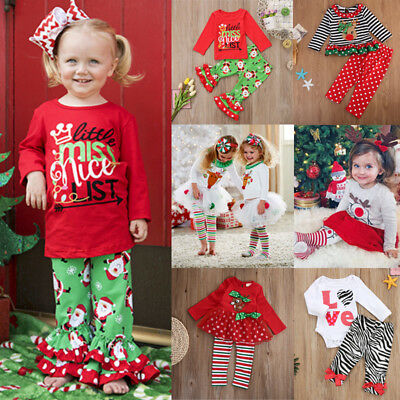 Toddler Kids Baby Girl Princess Lace Tutu Dress Tops Pants Christmas Outfits Set