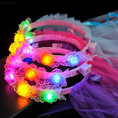 C7EE Cute Children Girls Colorful Luminous Veils With Flower Ribbons Headdress