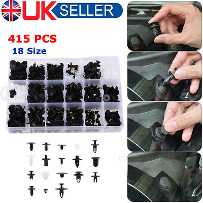 415PC Plastic Car Door Trim Clip Bumper Rivets Screws Panel Push Fastener Kit LE