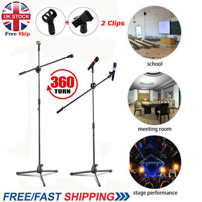 Telescopic Boom Microphone Stand Adjustable Mic Holder Tripod Foldable 2 Clips T