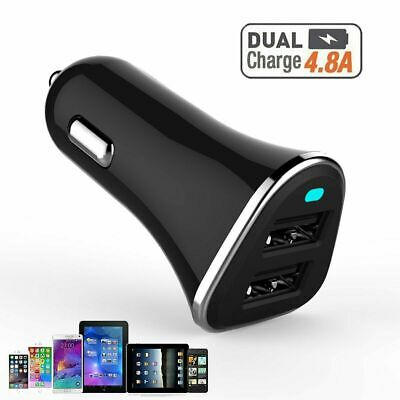 12V Dual USB Car Charger 4.8 Amp 3.0 High Speed Fast For Phone iPhone X Samsung
