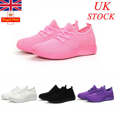 UK Womens Ladies Sneaker Mesh Trainers Casual Flat Fitness Gym Sport Shoes Size