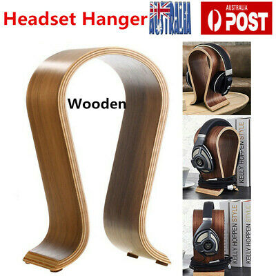 Wood Wooden Headphone Stand Holder Earphone Hanger Headset Display Rack Brown AU