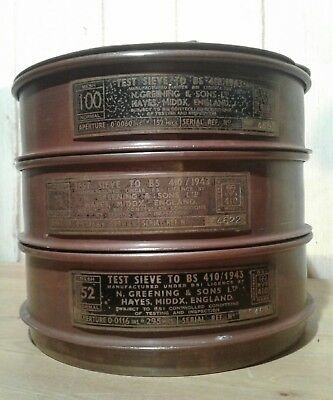 Set of 3 1943 N. Greening copper laboratory / industrial sieves