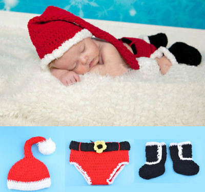 Cute Newborn Baby Christmas Santa Claus Costume Knit Hat Photo Prop Outfit Sets