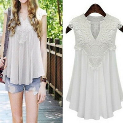 Fashion Women Casual Lace Vest Sleeveless Blouse V Neck Casual Hollow Out Top BS