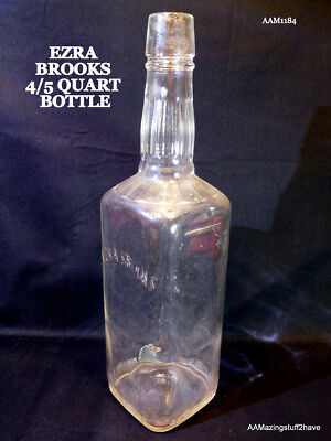 "Vintage Old Ezra Brooks  ""Real Sippin' Whiskey"" GLass Bottle (Empty)"