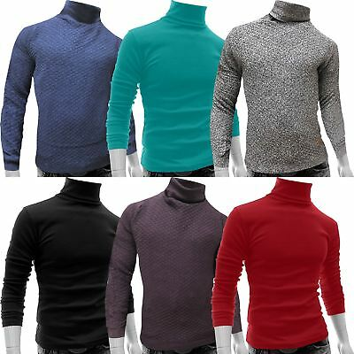 Mens Turtle Polo Roll Funnel Neck Top Stylish Baselayer Shirt Stretch Winter