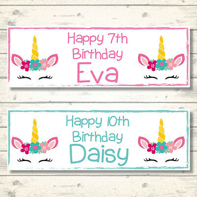 2 Personalised Unicorn Pretty Face Banners - Any Name - Any Age