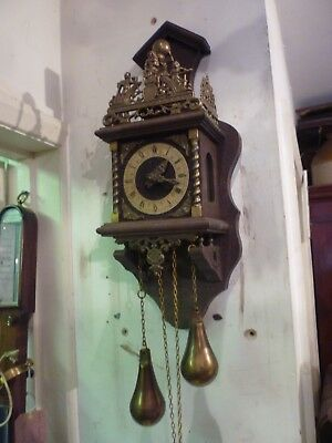 Vintage Dutch Wall Clock For Spares Or Repair