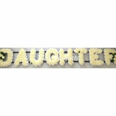 Daughter Artificial Silk Funeral Flower Any 8 Letter Wreath Name Tribute