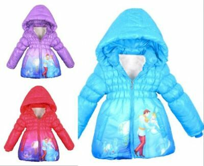 HOT Girls Disney Frozen Princes Kids Elsa/Anna Outerwear Slim Lined Coat Jacket