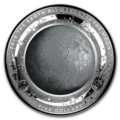 2019 Australia Domed The Earth And Beyond The Moon 1 oz Silver Proof Coin W/OMP